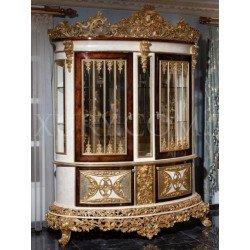 Резная двухдверная витрина для посуды РОЯЛ с высокой золотой короной