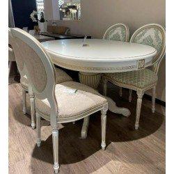 Белый овальный обеденный стол Селена на одной ноге