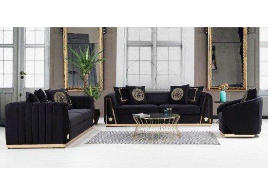Черный стильный диван Версаче