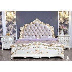 Белая двухспальная кровать с золотом Венеция, Фортуна Мебель