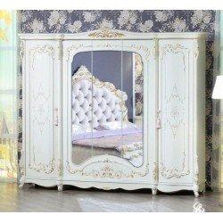 Белый пятидверный шкаф с зеркалом Венеция, Фортуна Мебель