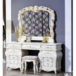 Дамский белый столик с зеркалом Венеция в стиле барокко