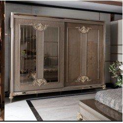 Шкаф-купе с зеркальными фасадами для спальни Белла, АКМ