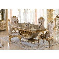 Большой обеденный стол на серебряной резной ноге Камелия