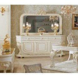 Белый буфет с зеркалом и золотой патиной Алисия, BIC