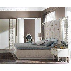 Белая большая кровать Париж с мягким декоративным изголовьем IBERBA