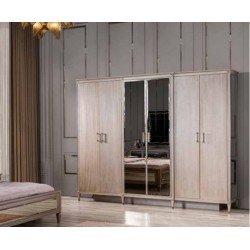 Шестидверный шкаф с зеркалами Кровн (Корона) в стиле АРТ-Деко