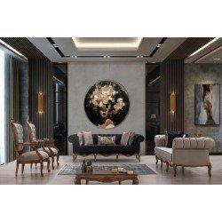 Диван с креслами для гостиной в стиле честер Асос, BELLA