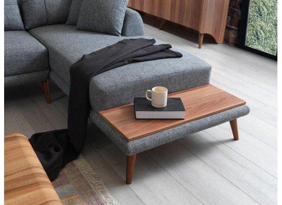 Серый угловой диван из рогожки Ретро