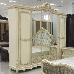 Бежевый пятидверный шкаф с зеркалами Амадеус.