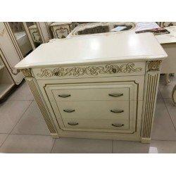 Белый классический комод с зеркалом для спальни Валерия, СКФМ