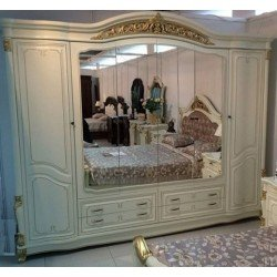 Белый большой шестидверный шкаф с зеркалами Касандра, СКФМ