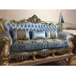 Голубой классический раскладной диван Марлен, Бел