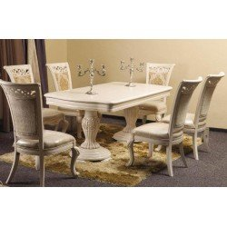 Белый обеденный стол на двух ногах Карпентер 230