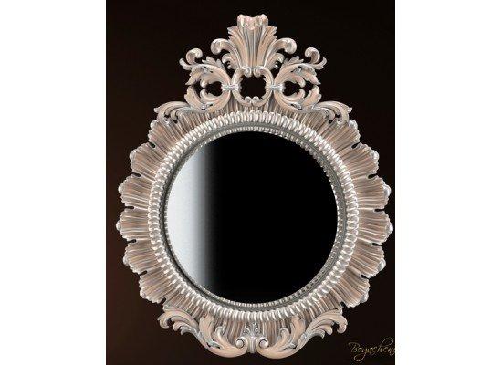 Классическое белое зеркало в резной раме 020