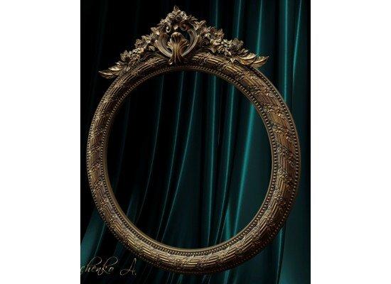 Круглое зеркало в деревянной резной раме в стиле барокко 023