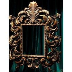 Большое резное зеркало в деревянной раме 025
