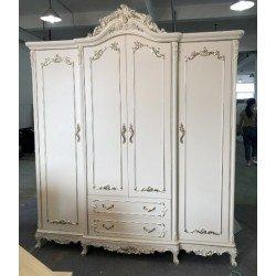Белый шкаф на 4 двери с серебряной патиной Версаль, Энигма