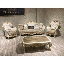 Белый комплект мягкой мебели в стиле барокко Мариам, Латифа