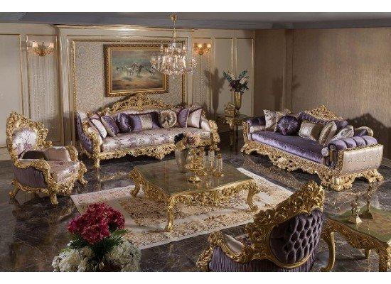 Классический диван с креслами и столиком в стиле барокко Ренессанс ( SEDEF)