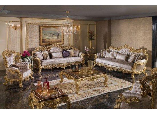 Мягкий резной диван с креслами Барокко (SEDEF)