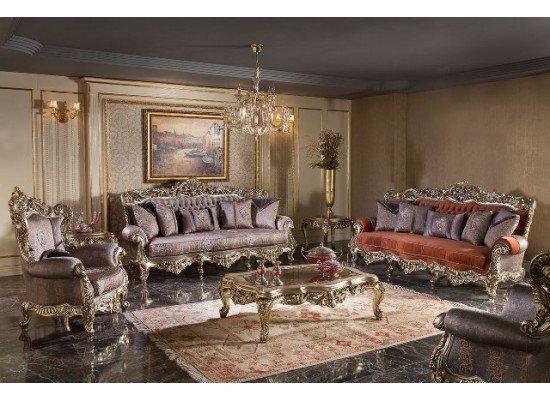 Резной турецкий диван с креслами Луна SEDEF в стиле барокко
