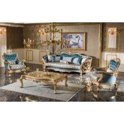 Голубой диван с креслами в золоте Бергюзар, SEREF