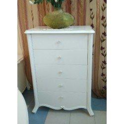 Белый высокий комод для белья в классическом стиле Натали