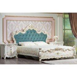 Белая классическая резная кровать Эмили с цветочным рисунком, Фортуна