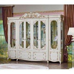 Белая резная шестидверная витрина Батичелла, Фортуна Мебель