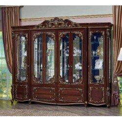 Большая витрина под стеклом для посуды Батичелла в цвете орех