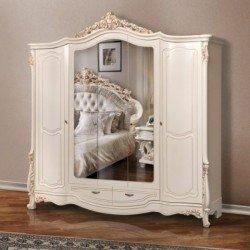 Белый пятидверный шкаф с зеркалом Офелия в стиле барокко