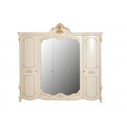 Классический белый пятидверный шкаф с зеркалами Лоретта