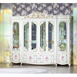 Большая белая шестидверная витрина Мирелла с цветочными фасадами