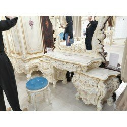 Белый туалетный стол для спальни Барокко Люкс