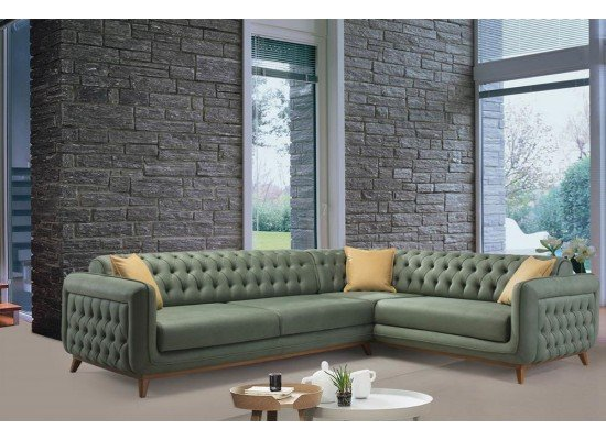 Зеленый диван в стиле капитоне Символ