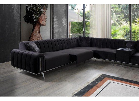 Большой черный велюровый угловой диван Версаче (Versace), BELLA