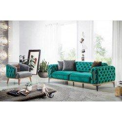 Мягкий прямой диван в стиле капитоне Арес, BELLA