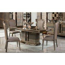 Обеденный бежевый стол Лавина в стиле АРТ-Деко, АКМ