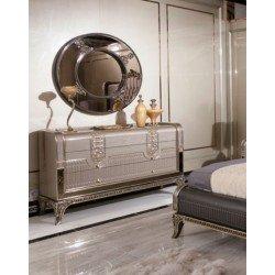 Комод для белья с круглым зеркалом для спальни Рива, Акм