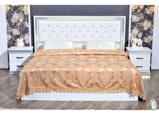 Белая кровать с прямым изголовьем Версаче, Фортуна Мебель