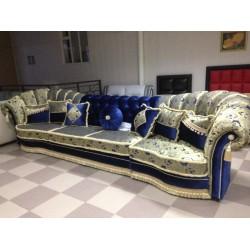 Большой синий диван Амелия