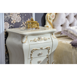 Белая прикроватная тумбочка для спальни Венеция, Фортуна мебель
