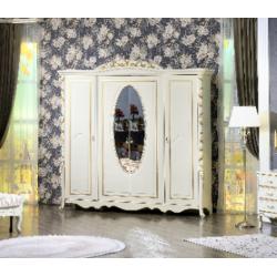Белый шкаф с фигурным зеркалом Виттория