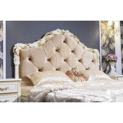 Белая двухспальная кровать без изножья в стиле барокко Виттория, Фортуна мебель