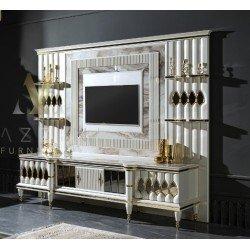 Белая ТВ тумба Диамант с панно в стиле АРТ-Деко, MAZ