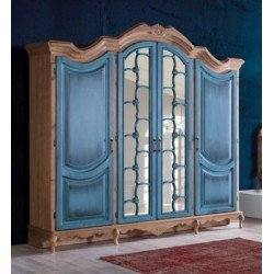 Большой четырехдверный шкаф с декоративными  зеркалами Гранд, Турция