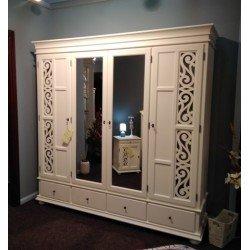 Четырехдверный шкаф для одежды с зеркалами Арабеск