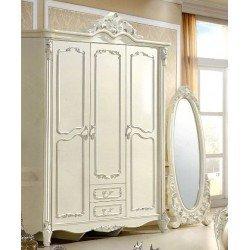 Белый трехдверный шкаф для одежды 8801