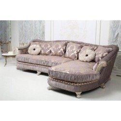 Классический тканевый диван с оттоманкой Лувр